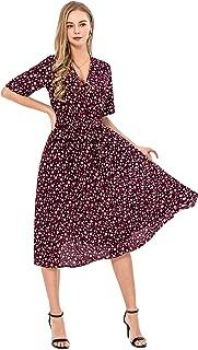 Wantdo Women's Casual Floral Dress V Neck Short Sleeve Slim Fit Long Dresses