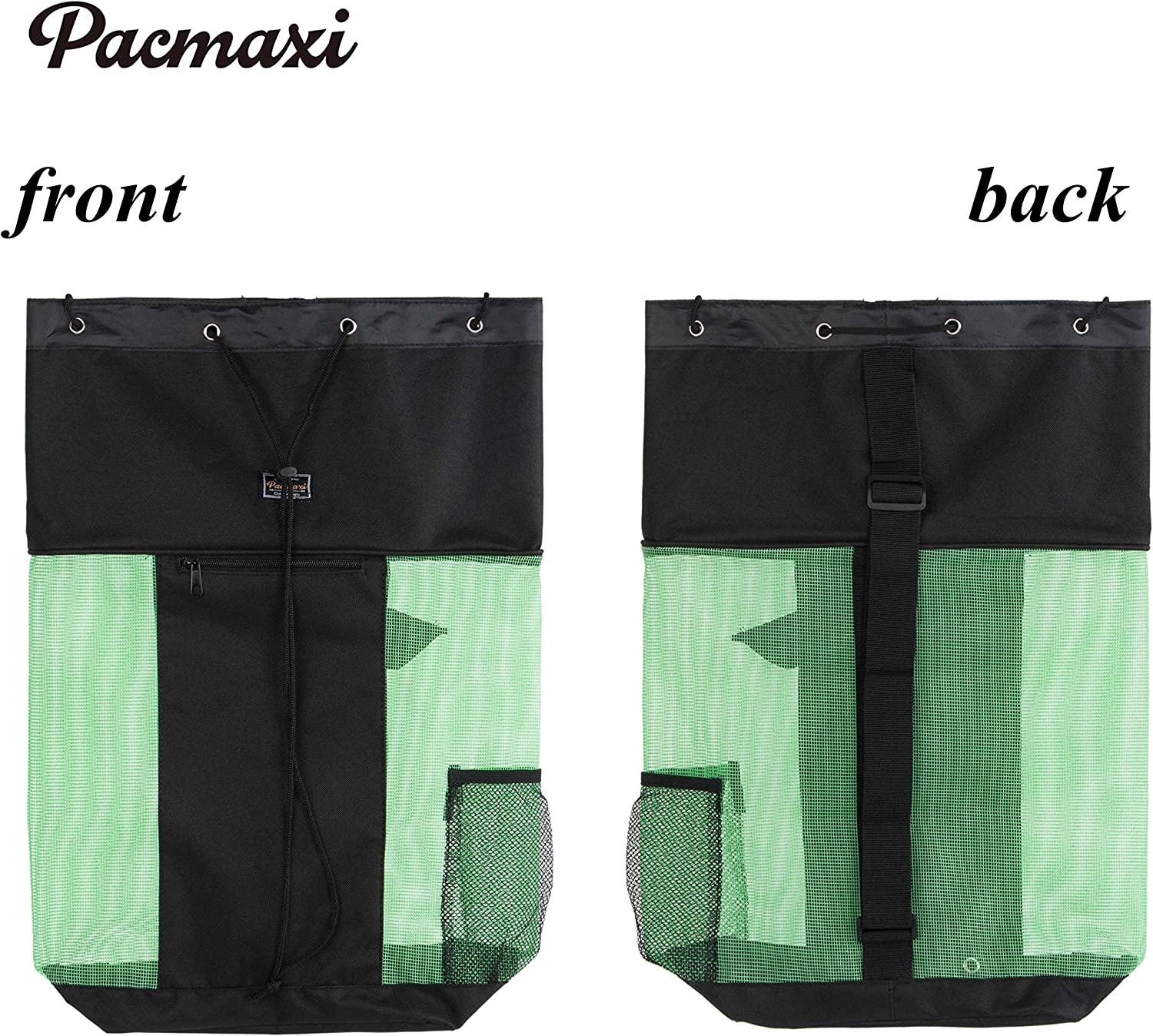 PACMAXI Mesh Scuba Diving Bag, Travel Dive Bag for Scuba or Snorkeling with 1 Zip Pocket and 1 Mesh Pocket, Can Holds Mask, Fins, Top Snorkel, Trek Fins. (Black) : Sports & Outdoors