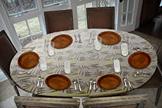 Covers For The Home Deluxe Elastic Edged Flannel Backed Vinyl Fitted Table Cover - Fern Pattern - Oblong/Oval - Fits Tables up to 48