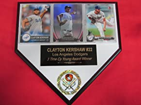 Clayton Kershaw Dodgers 3 Card Collector Home Plate Plaque to Amazon!