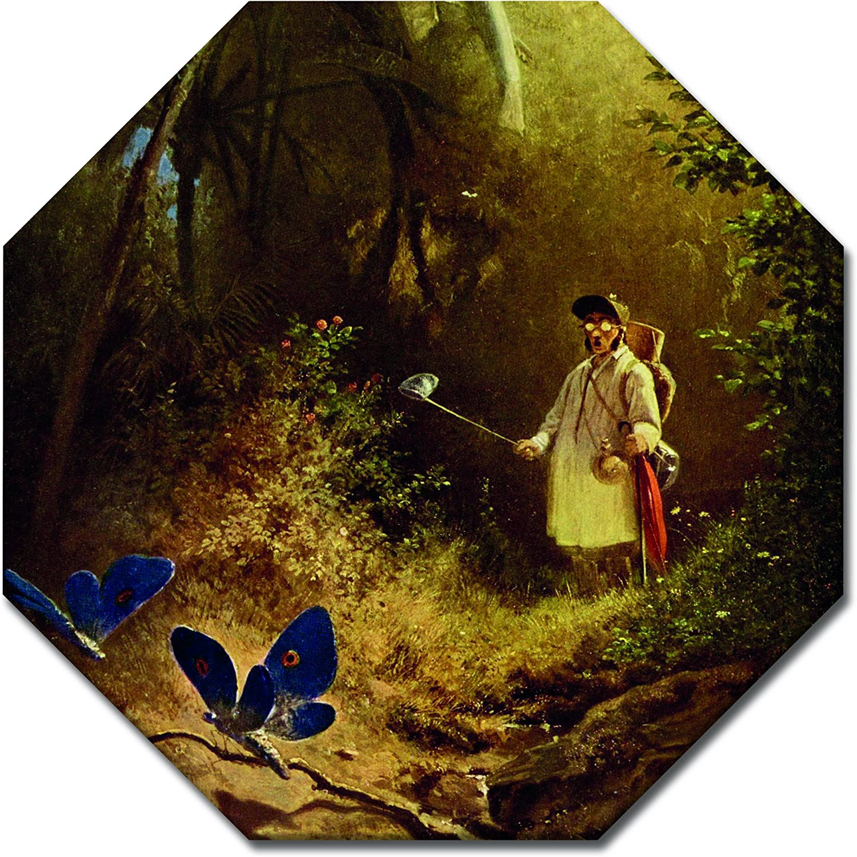 Wandbild Carl Spitzweg - Der Schmetterlingsfänger Achteck 60x60 cm - Leinwandbild Alte Meister Gemälde Bild auf Leinwand B07FMNTXKX