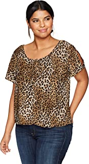 Star Vixen Women's Plus Size Short/Slit Sleeve Keyhole-Tie Peasant Top Bubble Hem