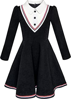 Girls Dress School White Collar Long Sleeve Striped Size 4-12