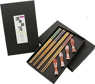 comprar comparacion Exzact Palillos 4 pares de palillos de bambú natural reutilizables con 4 apoyos para palillos de madera, en una hermosa ca...