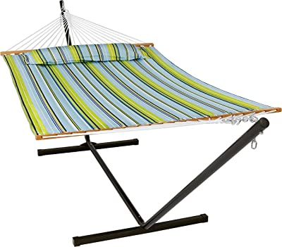 Sunnydaze Quilted Hammock with Stand 2 Person Heavy Duty - Double Hammock with 12 Foot Steel Stand for Backyard & Patio - 350 Pound Weight Capacity - Blue & Green