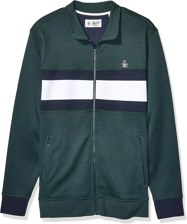 Original Penguin Men's Big and Tall Long Sleeve Track Jacket, Dark Spruce White Bright, XLT