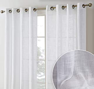 HLC.ME Madison Faux Linen Textured Semi Sheer Privacy Sun Light Filtering Transparent Window Grommet Long Thick Curtains D...