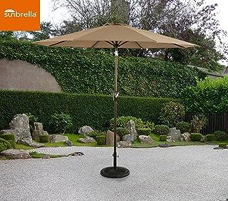 Ulax Furniture 9 Ft Outdoor Umbrella Patio Market Umbrella Aluminum with Push Button Tilt&Crank, Sunbrella Fabric, Heather Beige