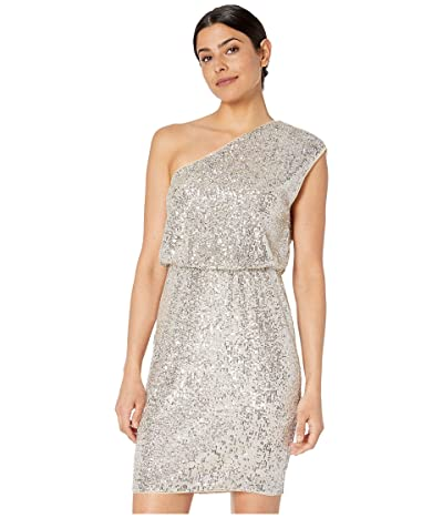 Adrianna Papell One Shoulder Sequin Blouson Cocktail Dress (Silver) Women