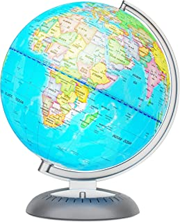 Illuminated World Globe for Kids with Stand – Built-in LED Light Illuminates for Night..
