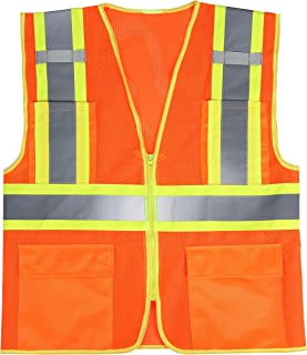 SULWZM High Visibility Reflective Safety Vest with Zipper and Pockets,Breathable Mesh Vest Orange,XL
