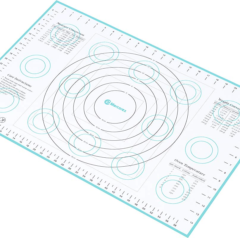 Marcorex Extra Large Silicone Pastry Mat With Measurements And Conversion Charts Non Stick Non Slip Fondant Mat Cookie Rolling Dough Mat X Large 26 X 17 Blue