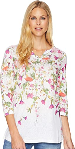 Cascading Flowers Notched Top