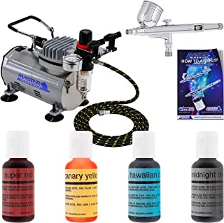 Pro Master Airbrush Cake Decorating Airbrushing System Kit with a 4 Color Chefmaster Food..