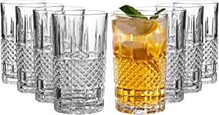 Castlecombe Tall Highball Glasses Set of 8, 12 Ounce Cups, Textured Designer Glassware for Drinking Water, Beer, or Soda, Trendy and Elegant Dishware, Dishwasher Safe