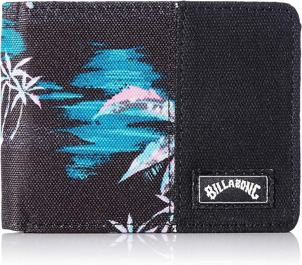 Billabong tides wallet, portafoglio portafoglio a doppia piega, in cotone al 100%, con protezione rfid U5WM08A
