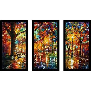 13.5 W x 25.5 H x 1 D Picture Perfect International Leonid Afremov Romantic Evening 1 Framed Plexiglass Art Set of 3 Wall-Decor