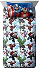 Marvel Avengers Heroic Age Blue/White 3 Piece Twin Sheet Set with Captain America, Thor, Ironman & Hulk