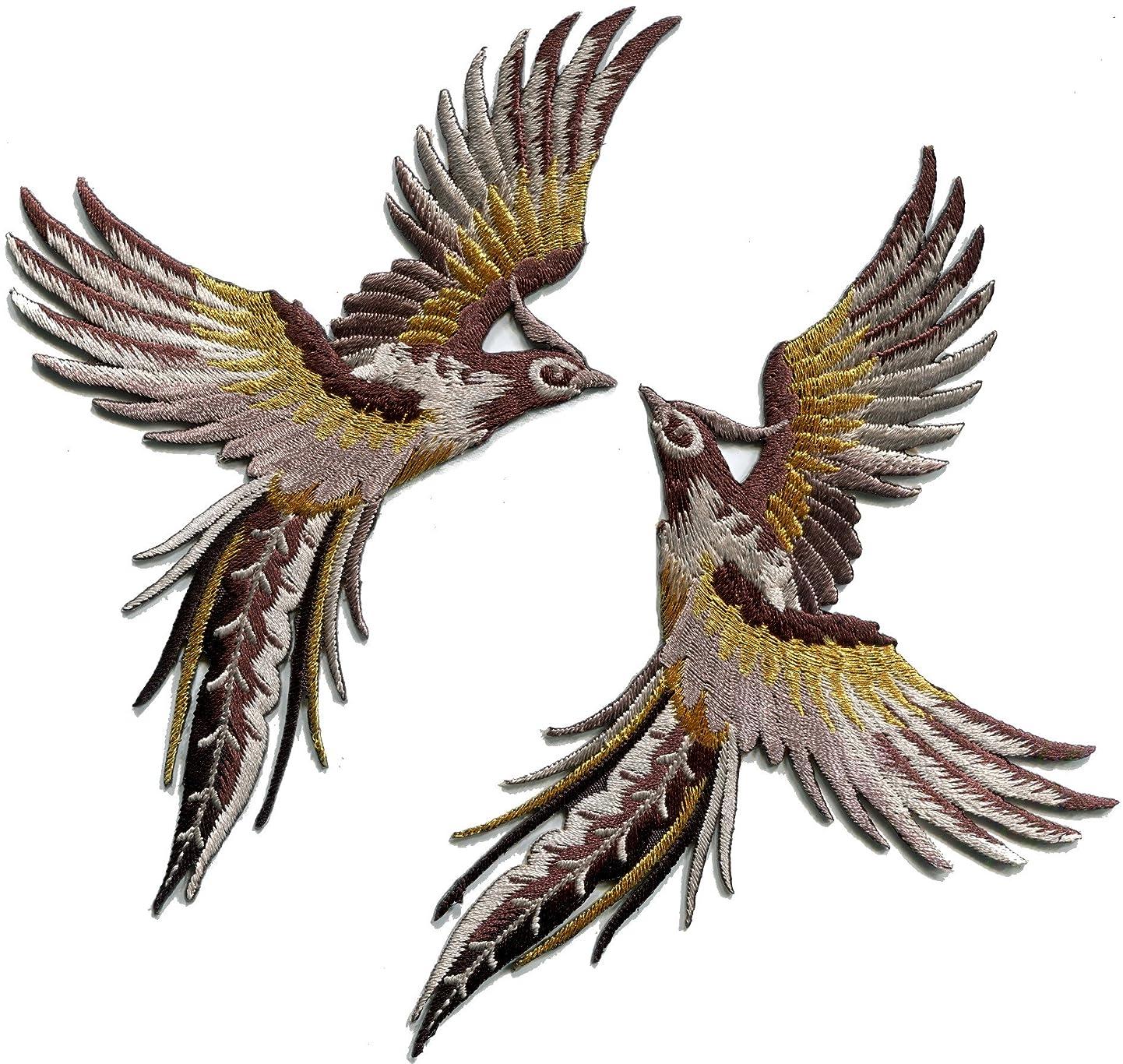 Phoenix phenix birds cedar brown black gold embroidered appliques iron-on patches pair S-1339 azlzbwsijdj7