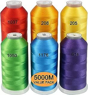 New brothread Conjunto de 6 Colores del Arcoiris Poliéster Bordado Máquina Hilo Grande carrete 5000M para todas las máquinas de bordado