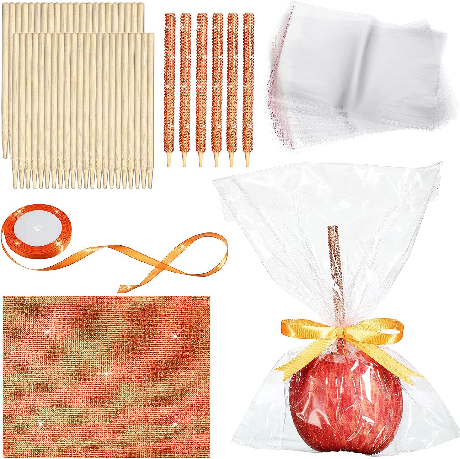 102 Pieces Candy Fruit Bamboo Sticks Set 50 Pieces Candy Fruit Skewer Sticks 50 Pieces Candy Cellophane Treat Bags Bling Rhinestone Sticker Self Adhesive Crystal Sheet and Orange Ribbon for Wrapping