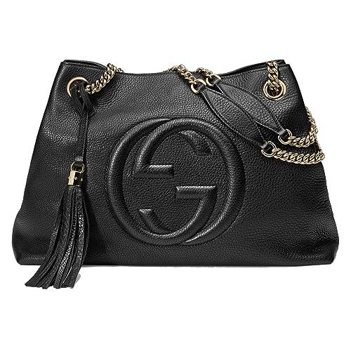 772b59631 Gucci Soho Leather Chain Shoulder Handbag Black