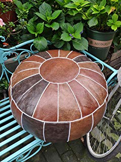 """RISEON Boho Handmade Faux PU Leather Moroccan Pouf Footstool Ottoman Leather Poufs Unstuffed 23"""" x 11"""" -Round Floor Cushion Footstool for Living Room, Bedroom and Under Desk (Brown)"""