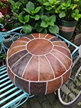RISEON Boho Handmade Faux PU Leather Moroccan Pouf Footstool Ottoman Leather Poufs Unstuffed 23 x 11 -Round Floor Cushion Footstool for Living Room, Bedroom and Under Desk (Brown)