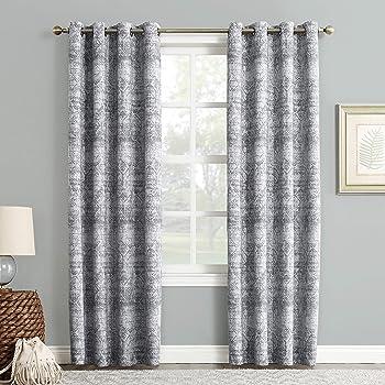 "Sun Zero Darren Distressed Woven Jacquard Blackout Grommet Curtain Panel, 50"" x 84"", Indigo"