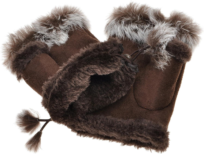 ZLYC Women Teen Classic Winter Warm Rabbit Fur Hands Wrist Fingerless Gloves Mittens