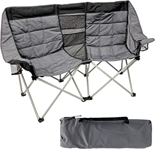 EasyGo Product Camping Chair Folds Easily and Padded, Fits 2 People, Black Grey