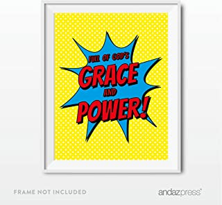 Andaz Press Biblical Religious Wall Art, Superhero Pop Art, Full of God's Grace and Power Quotation, Bible Acts 6:8, 8.5x11-inch Print Poster Sign Gift, 1-Pack, For Christmas Gift for Grandpa, Uncle