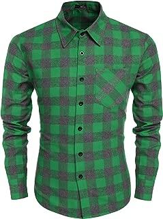 Coofandy Men Casual Button Down Shirt Long Sleeve Plaid Dress Shirts Multi-Colors