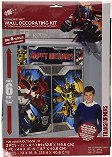 "Amscan 670382 Transformers Scene Setters Wall Decorating Kit, Birthday 5 ct Multicolor, 59"" x 65"""