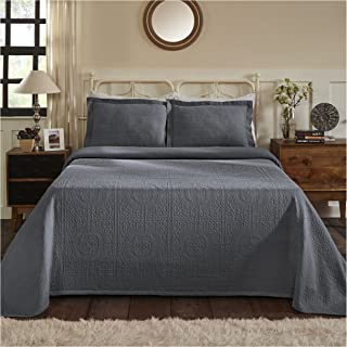 Superior 100% Cotton Medallion Bedspread with Shams, All-Season Premium Cotton Matelassé Jacquard Bedding, Quilted-look Floral Medallion Pattern - King, Grey