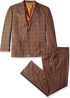 Men's 3-Piece Peak Lapel Plaid Vested Suit