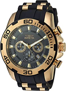 Invicta Men's Pro Diver Stainless Steel Quartz Silicone Strap, Black, 26 Casual Watch