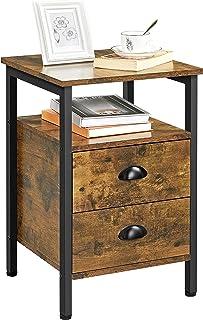 Yaheetech Table d'Appoint Table de Chevet Industrielle en Bois Cadre en Métal Bout de Canapé avec Compartiment Ouvert 2 ti...