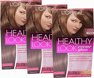 Loreal Healthy Look Hair Dye, Creme Gloss Color 6BB, 1 ct (Pack of 3)