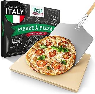 Pizza Divertimento Pierre à pizza pour four - Avec pelle à pizza en bois - Pierre pizza en cordiérite - Pour une base crou...