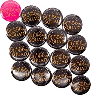 Juvale Birthday Buttons for Women - 16-Pack It's My Birthday Pins for Girls with 2 Designs in Black and Hot Pink – Birthday Squad Buttons, 2.3-Inch Diameter