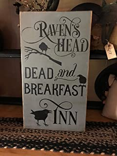 Raven's Head Dead and Breakfast Halloween Vintage Wood Sign Rustic Wooden Porch Sign Wood Block Plaque Wall Decor Art Farmhouse Home Gift - 7x12 inch