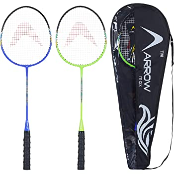 Arrowmax Badminton Racquet Set of 2 pcs for All Age Groups | Set of 2 jointless Steel Rackets for Kids and Adults | Ideal for Everyday Play and Recreation | Multicolour