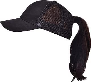 Beurlike Ponytail Baseball Cap High Bun Ponycap Adjustable Mesh Trucker Hats