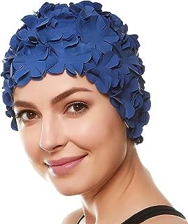 Beemo Floral Petal Ladies Bathing Swim Cap Women Retro Swim Hat Long/Short Hair