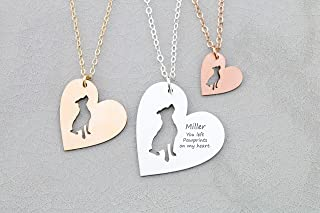 Pitbull Rescue Heart Dog Necklace - IBD - Terrier - Personalize Name Date - Pendant Size Options - 935 Sterling Silver 14K Rose Gold Filled
