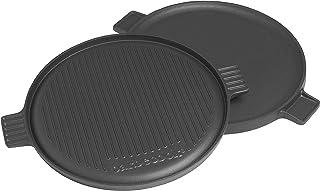 Barbecook Grillplatte mit flacher und gerippt Grill-Seite Gusseisen Grillzubehör rund Durchmesser 35-cm Universal für Holzkohlegrill