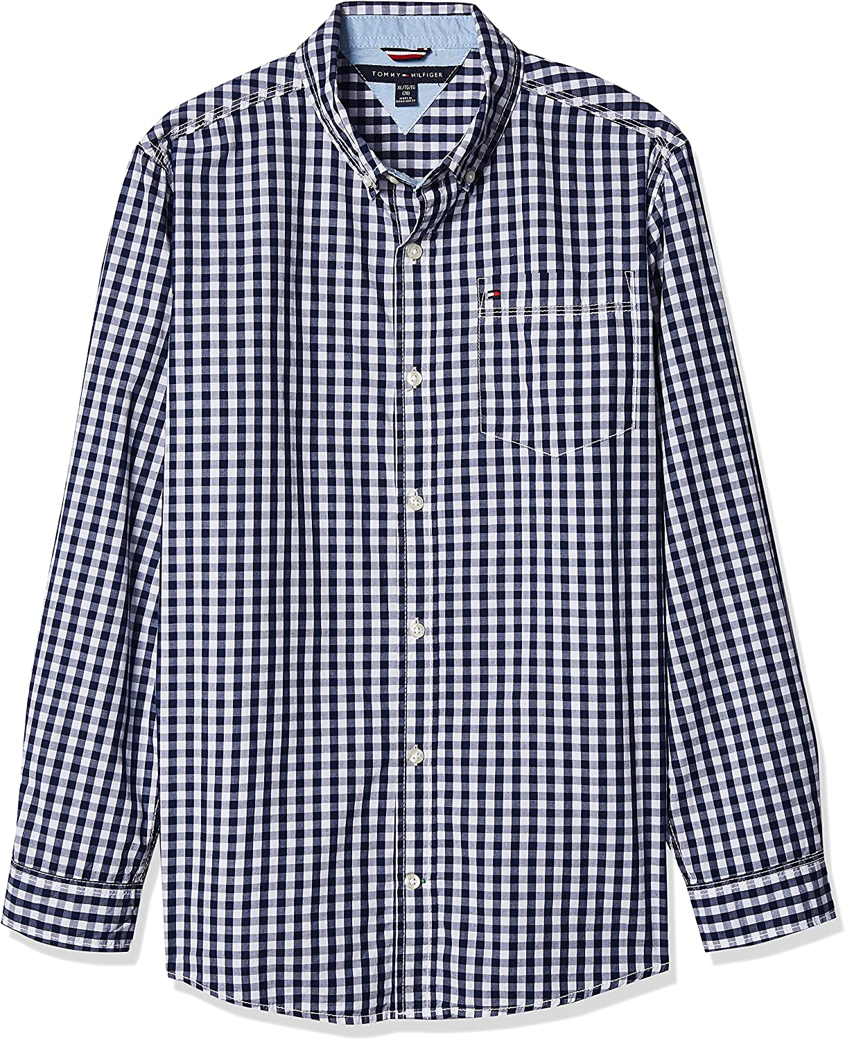 Tommy Hilfiger Boys Long Sleeve Woven Shirt, 100% Cotton, Collared Button-Down with Embroidered Logo