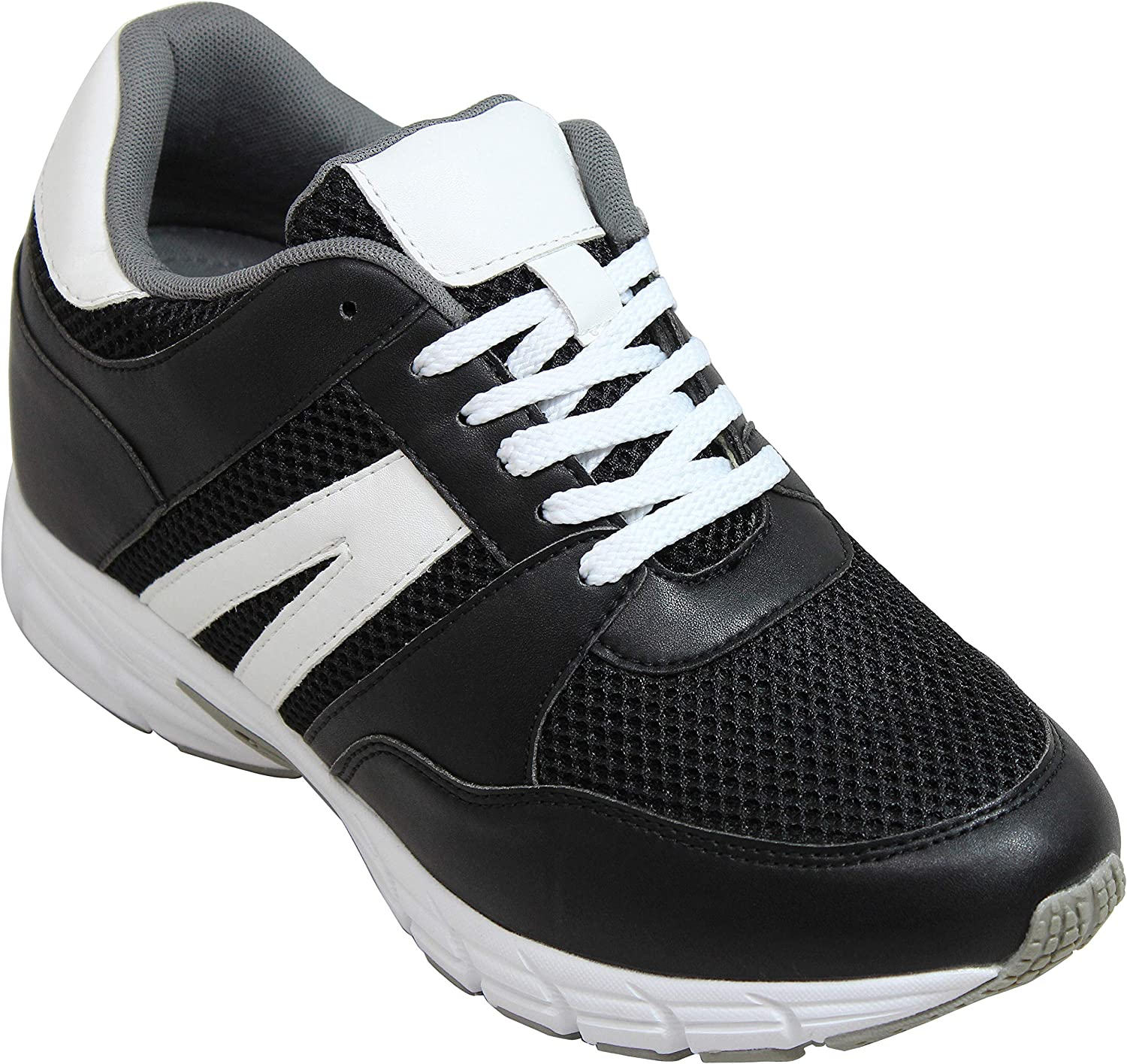 TOTO - H2213 - 3.3 Inches Taller - Height Increasing Elevator shoes - Black White Lightweight Sneakers