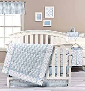 blue and white chevron baby bedding